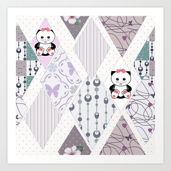 The pattern for children . Kittens . Art Print