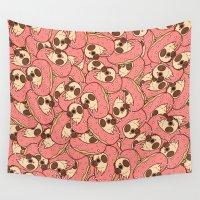 doughnut Wall Tapestries featuring Puglie Doughnut by Puglie Pug