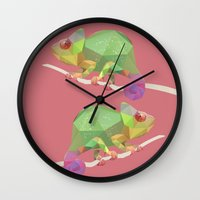 chameleon Wall Clocks featuring Chameleon. by Diana D'Achille