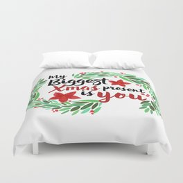 Merry Christmas Xmas Eve Holiday Season Santa Claus Navidad Regalo Present Gift Loved One Duvet Cover
