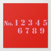 numbers Canvas Prints featuring NUMBERS by Ljubica Cehovin
