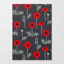 Red poppy flower pattern Canvas Print