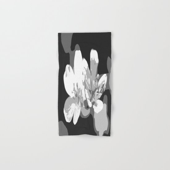 Retro Flowers in Black and White Hand & Bath Towel