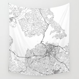 Auckland White Map Wall Tapestry