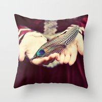 feather Throw Pillows featuring feather by elle moss