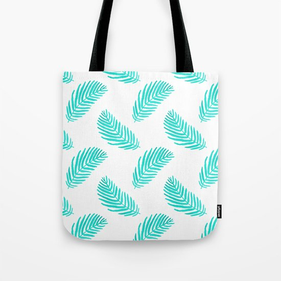 Palm Frond tropical summer watercolor painting leaf pattern house plants palm nature illustration Tote Bag
