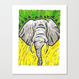 Friends of David Sheldrick Wildlife Trust - Yellow Green & Gray Elephant Fine Art Print Canvas Print