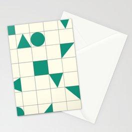 geo shapes-aqua green Stationery Cards