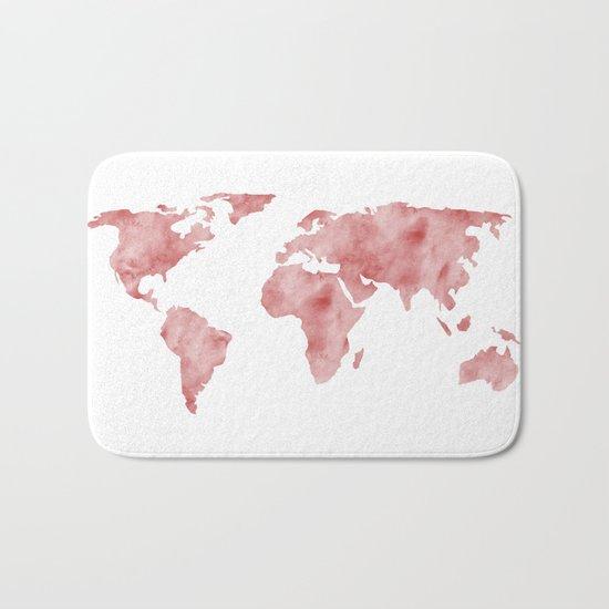 World Map Light Red Watercolor Bath Mat