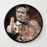 johnny cash Wall Clocks featuring Johnny Cash by Ray Stephenson