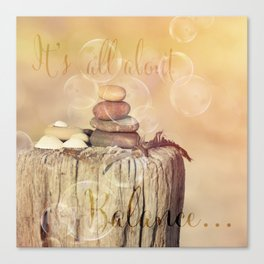 Balance Stone Cairn Sunset  Bubbles Light Canvas Print