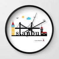 istanbul Wall Clocks featuring Istanbul.  by Irmak Berktas