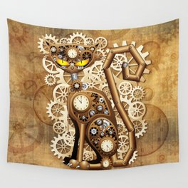 Steampunk Cat Vintage Style Wall Tapestry