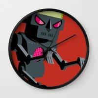 robot Wall Clocks featuring Robot by Marco Recuero
