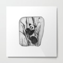 Panda Bear in a tree by annmariescreations Metal Print