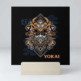 Dark Japanese Yokai Mask Mini Art Print