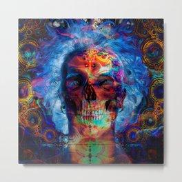Skull psychodelicart Metal Print