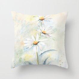 White Daisies Throw Pillow
