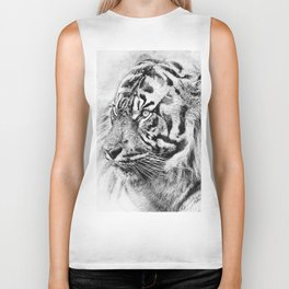The mysterious eye of the tiger. WB. Square Biker Tank