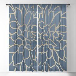 Floral Prints, Line Art, Navy Blue and Gold Sheer Curtain