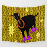goat Wall Tapestries featuring Goat Colorful by Vitta
