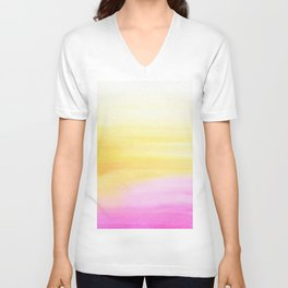 Pink and Yellow Wash Unisex V-Neck
