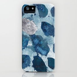 Abstract blue free form shapes no. 1 iPhone Case