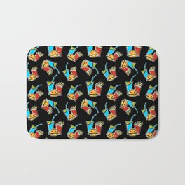 Fun Fast Food (seamless pattern in black) Bath Mat