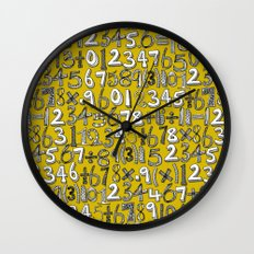 math doodle yellow Wall Clock