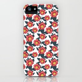 Pomegranate and hibiscus herbal pattern iPhone Case