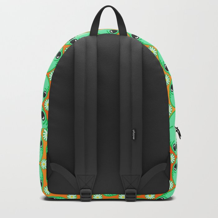 Happy Alien and Daisy Nineties Grunge Pattern Backpack