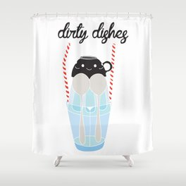 dirty dishes (girl) Shower Curtain