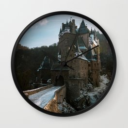 Fairytale Castle in a winter forest in Germany - Landscape and Architecture Wall Clock