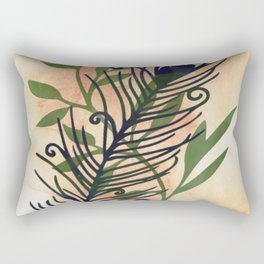 Watercolor Feather And Flora Rectangular Pillow