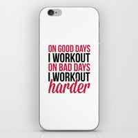 workout iPhone & iPod Skins featuring Workout Harder Gym Quote by EnvyArt