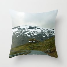 Cabin in the Mountains (Norway) Throw Pillow