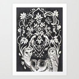 Three Moon Owls Art Print