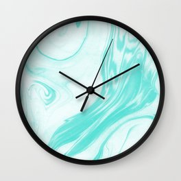 Enoshima - spilled ink abstract painting water ocean japanese wave marble marbling marbled pattern Wall Clock