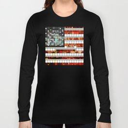 Retro Abstract American Flag Long Sleeve T-shirt