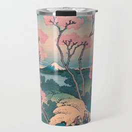 Spring Picnic under Cherry Tree Flowers, with Mount Fuji background Travel Mug