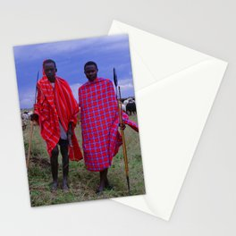 Two Teens in Africa Tending to Village Cattle Stationery Cards
