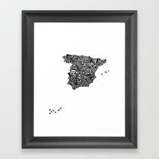 Typographic Spain map art print Framed Art Print