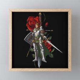 Strong Female Knight | Rose and Dagger Framed Mini Art Print