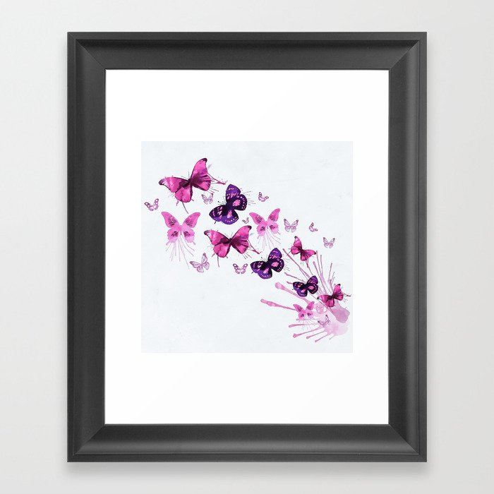 Beautiful Pink and Purple Butterflies Gerahmter Kunstdruck