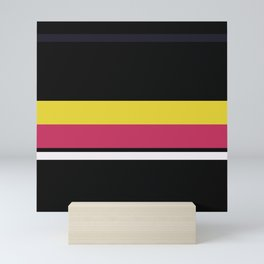 A peerless patchwork of Anti-Flash White, Dark, Smoky Black, Dark Pink and Sandstorm stripes. Mini Art Print