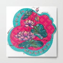 Peranakan Lotus Turquoise Pink Metal Print