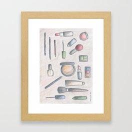 MAKE-UP - pencil and coloured pencil illustration Framed Art Print