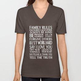 Family Rules Unisex V-Neck