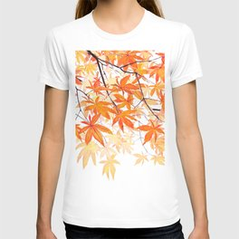 orange maple leaves watercolor T-shirt