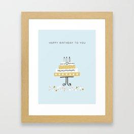 Happy birthday cake Framed Art Print